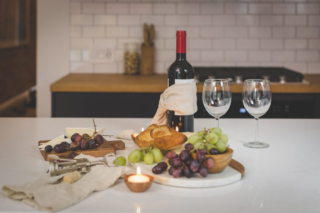 wine at table, possible to book with your room